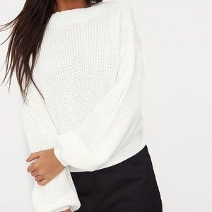 a new day | white balloon sleeved sweater
